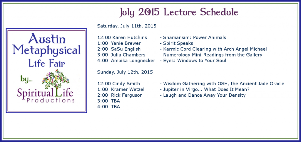 2015 July Metaphysical Fair Lecture Schedule