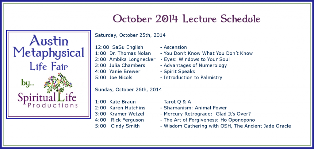 2014 October Austin Metaphysical Life Fair - Lecture Schedule