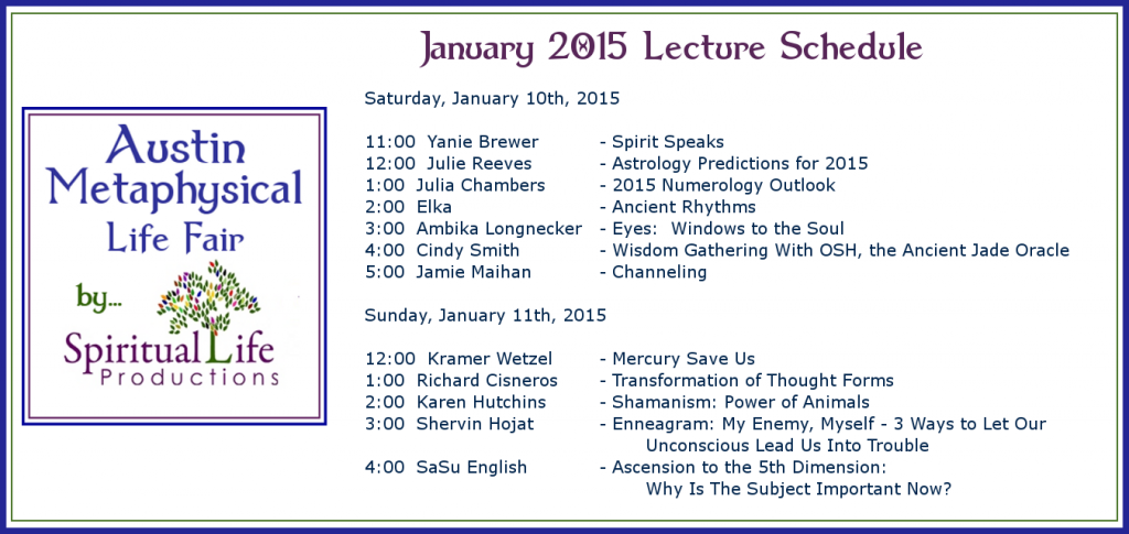 2015 January Metaphysical Fair Lecture Schedule