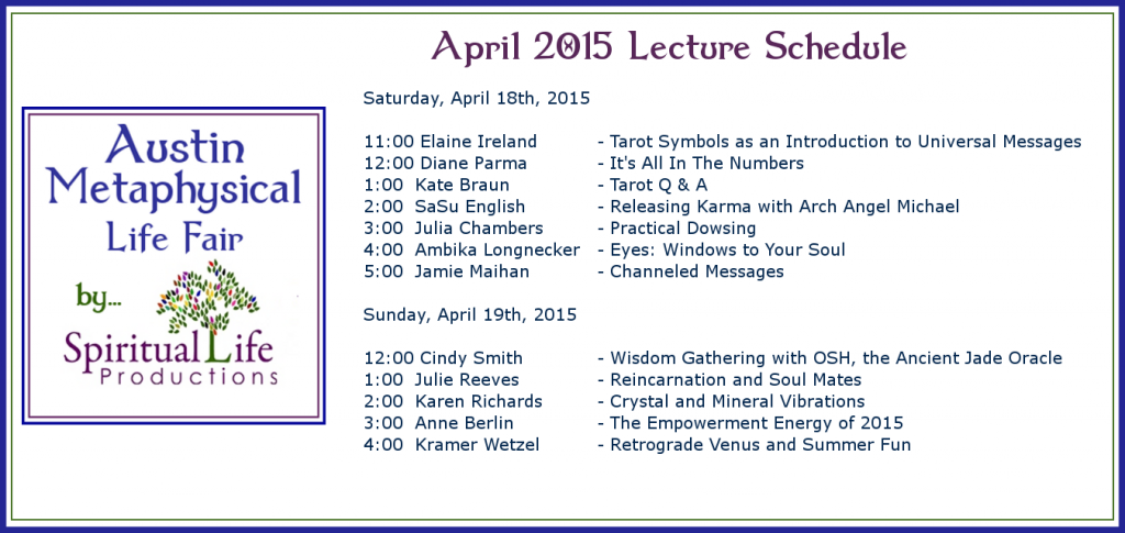 2015 April Metaphysical Fair Lecture Schedule